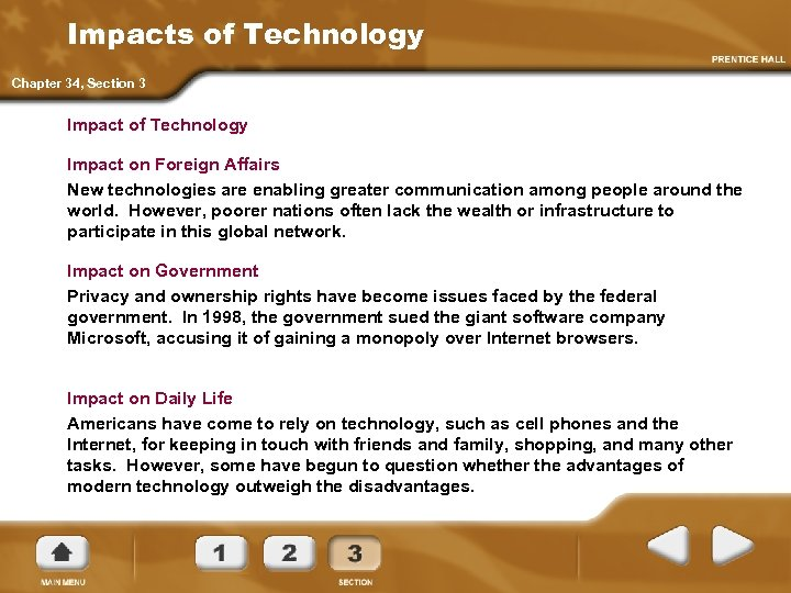 Impacts of Technology Chapter 34, Section 3 Impact of Technology Impact on Foreign Affairs