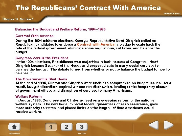 The Republicans' Contract With America Chapter 34, Section 1 Balancing the Budget and Welfare