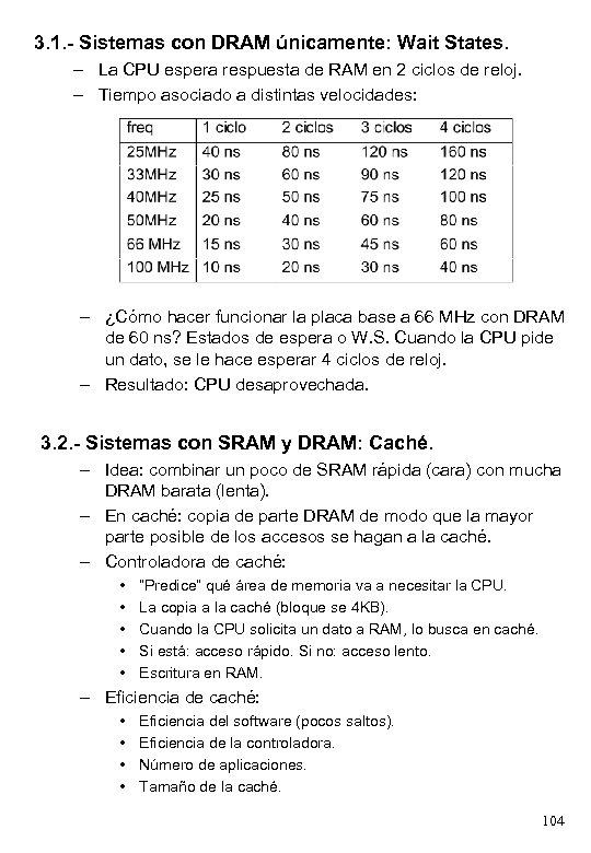 3. 1. - Sistemas con DRAM únicamente: Wait States. – La CPU espera respuesta