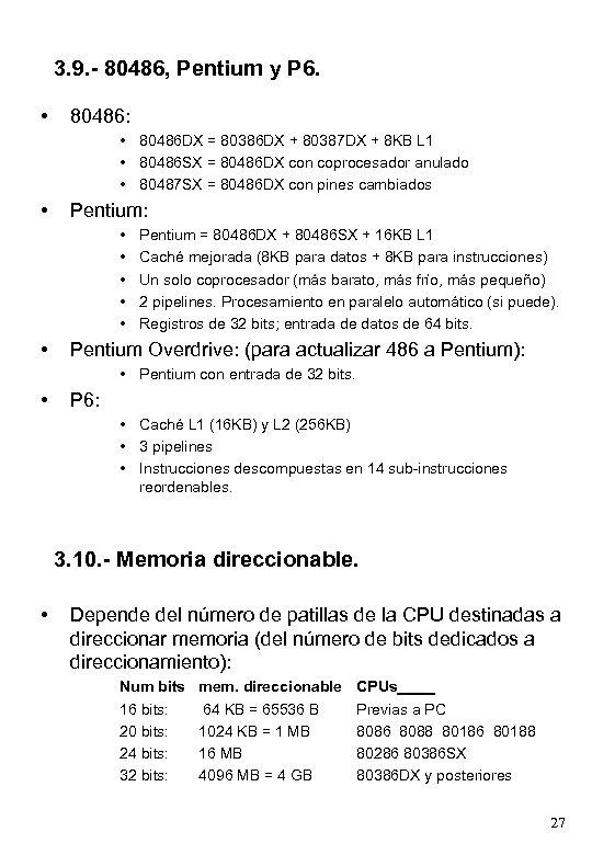 3. 9. - 80486, Pentium y P 6. • 80486: • 80486 DX =