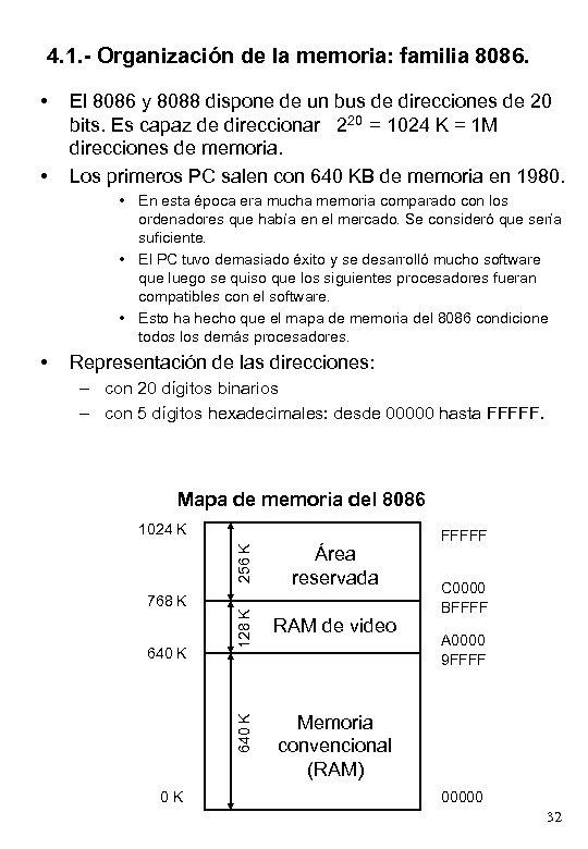 4. 1. - Organización de la memoria: familia 8086. • • El 8086 y