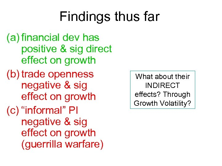 Findings thus far (a) financial dev has positive & sig direct effect on growth