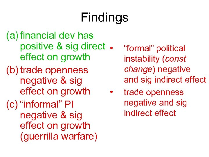 Findings (a) financial dev has positive & sig direct • effect on growth (b)