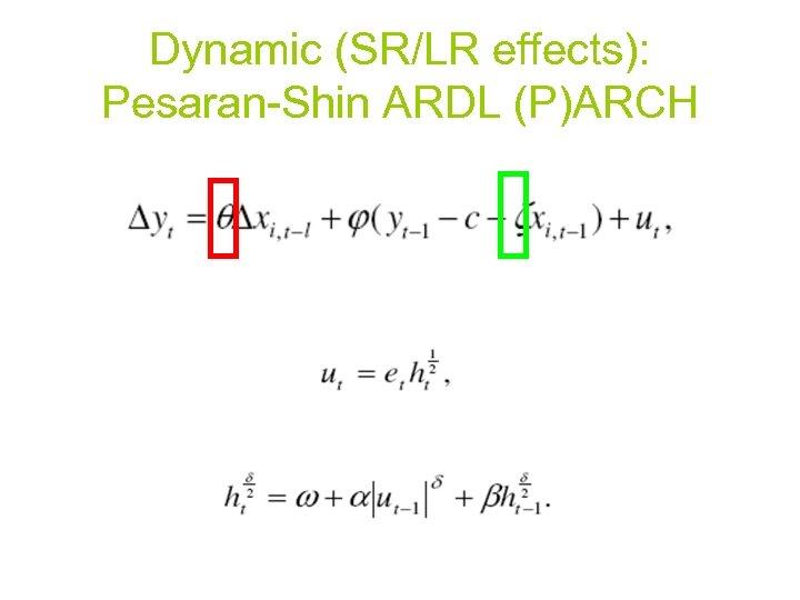 Dynamic (SR/LR effects): Pesaran-Shin ARDL (P)ARCH