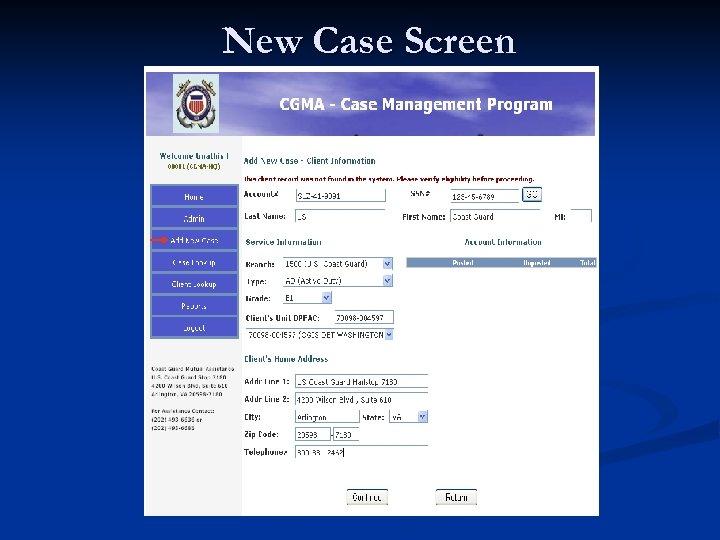 New Case Screen