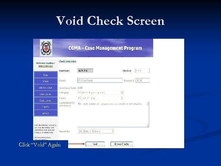 """Void Check Screen Click """"Void"""" Again"""