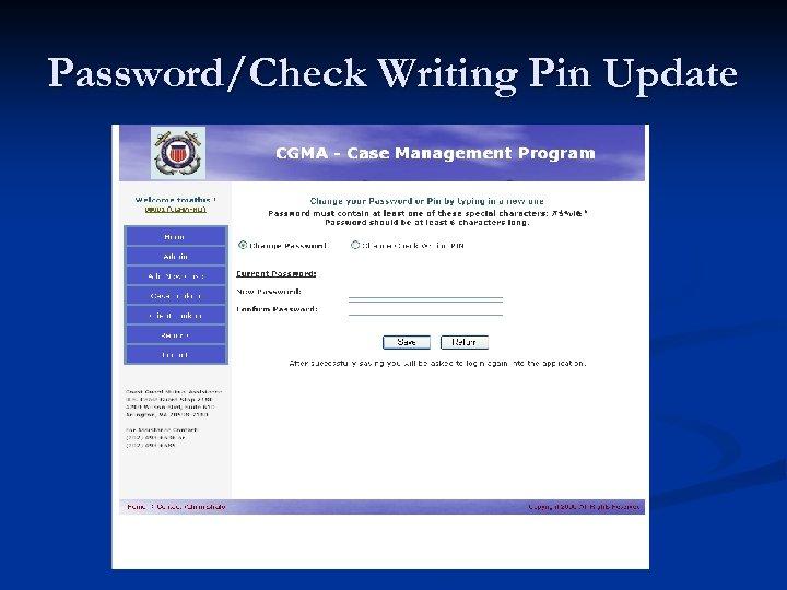 Password/Check Writing Pin Update