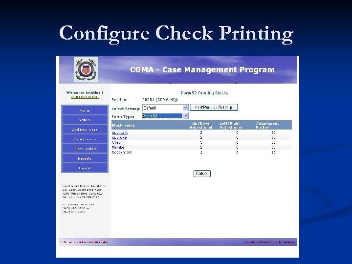 Configure Check Printing