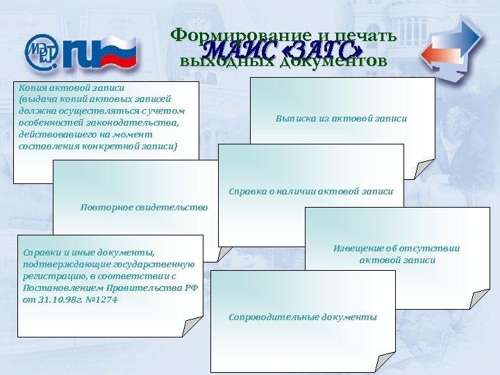 Формирование и печать МАИС «ЗАГС» выходных документов Копия актовой записи (выдача копий актовых записей