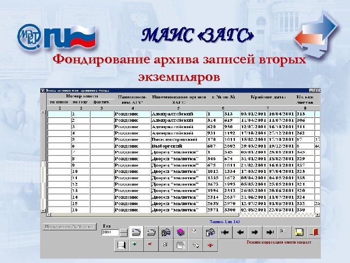 МАИС «ЗАГС» Фондирование архива записей вторых экземпляров