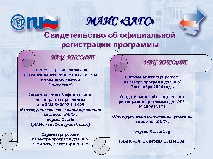 МАИС «ЗАГС» Свидетельство об официальной регистрации программы ИВЦ ИНСОФТ Система зарегистрирована Российским агентством по