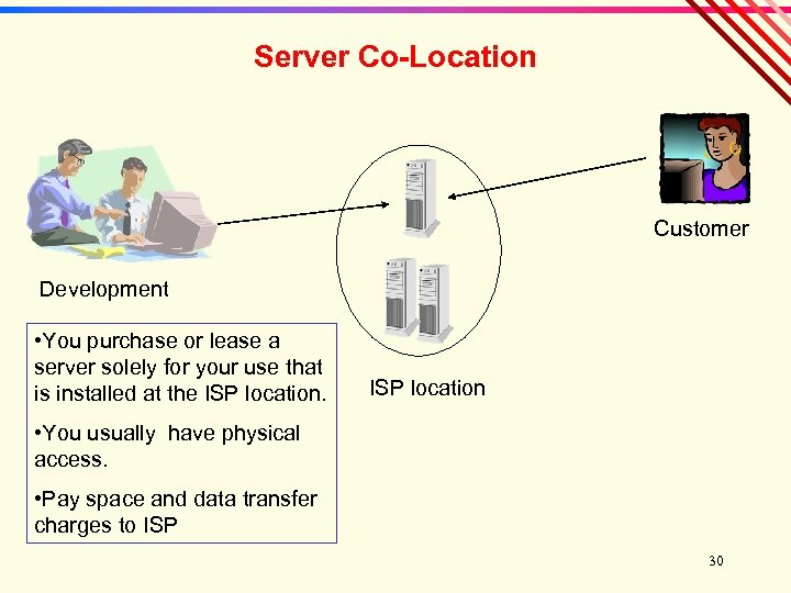 Server Co-Location Customer Development • You purchase or lease a server solely for your