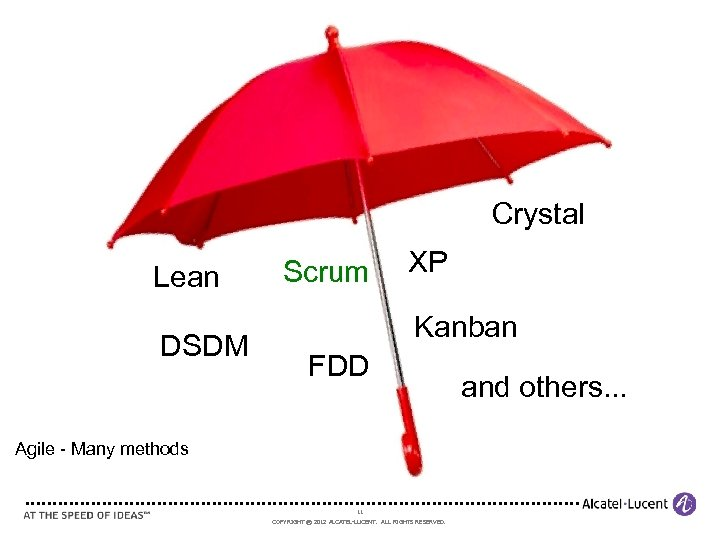 Crystal Lean DSDM Scrum XP Kanban FDD Agile - Many methods 11 COPYRIGHT ©