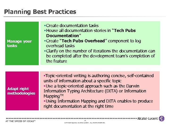 Planning Best Practices Manage your tasks • Create documentation tasks • House all documentation