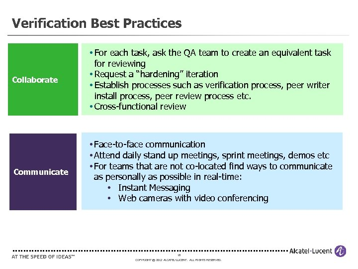 Verification Best Practices Collaborate • For each task, ask the QA team to create