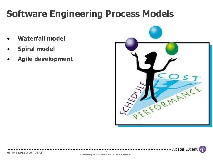 Software Engineering Process Models • Waterfall model • Spiral model • Agile development 3