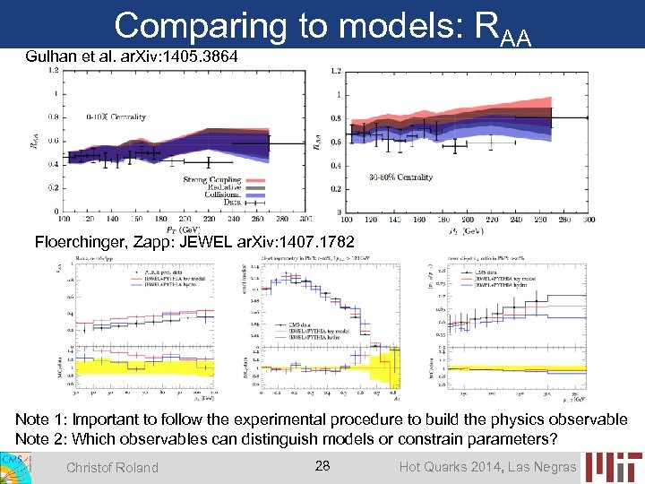 Comparing to models: RAA Gulhan et al. ar. Xiv: 1405. 3864 Floerchinger, Zapp: JEWEL