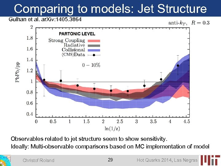 Comparing to models: Jet Structure Gulhan et al. ar. Xiv: 1405. 3864 Observables related
