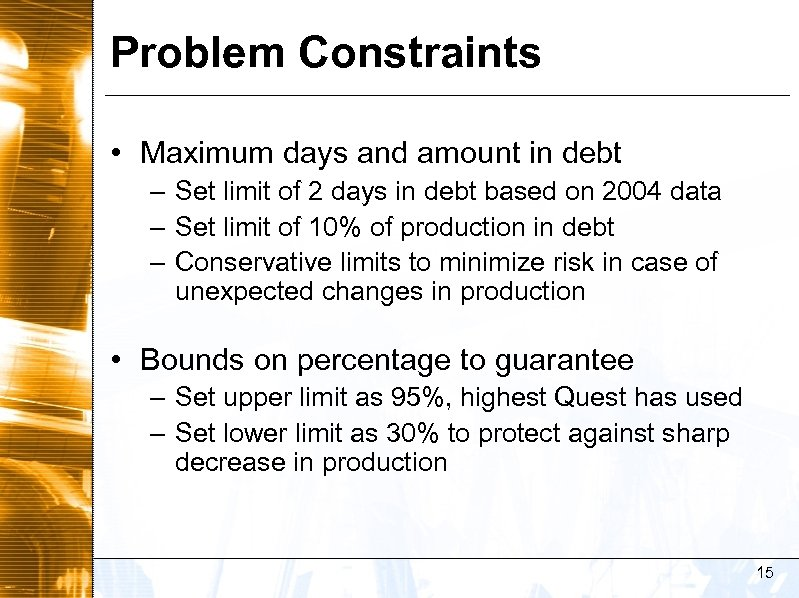 Problem Constraints • Maximum days and amount in debt – Set limit of 2