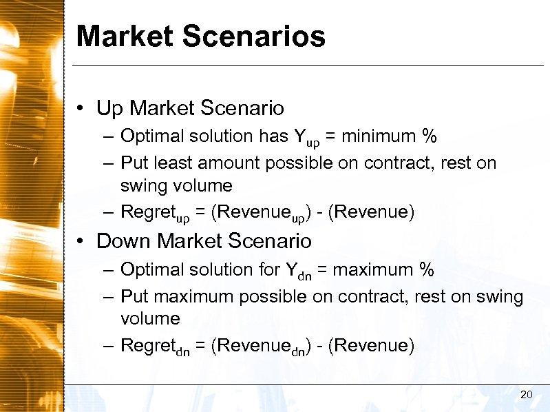 Market Scenarios • Up Market Scenario – Optimal solution has Yup = minimum %