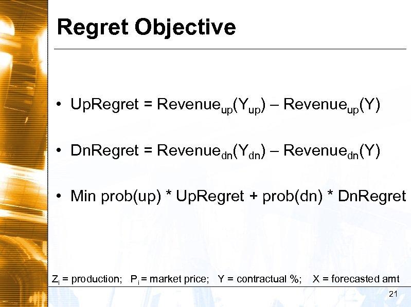 Regret Objective • Up. Regret = Revenueup(Yup) – Revenueup(Y) • Dn. Regret = Revenuedn(Ydn)