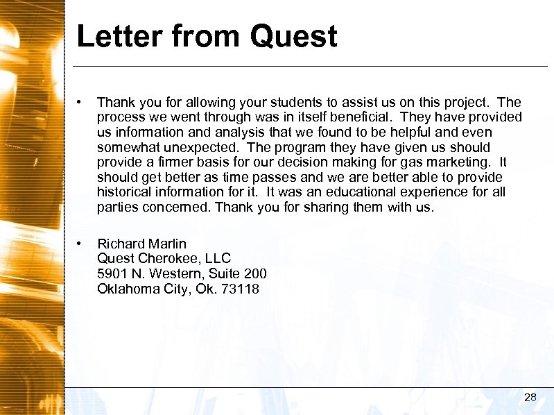 Letter from Quest • Thank you for allowing your students to assist us on