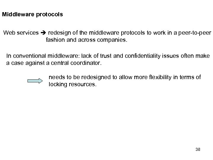 Middleware protocols Web services redesign of the middleware protocols to work in a peer-to-peer