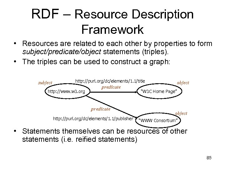 RDF – Resource Description Framework • Resources are related to each other by properties