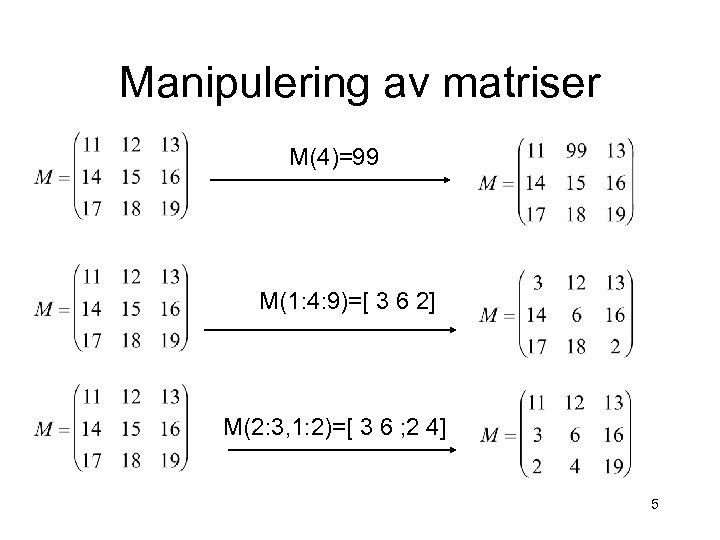 Manipulering av matriser M(4)=99 M(1: 4: 9)=[ 3 6 2] M(2: 3, 1: 2)=[