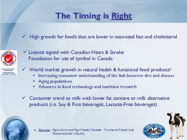 The Timing is Right ü High growth for foods that are lower in saturated