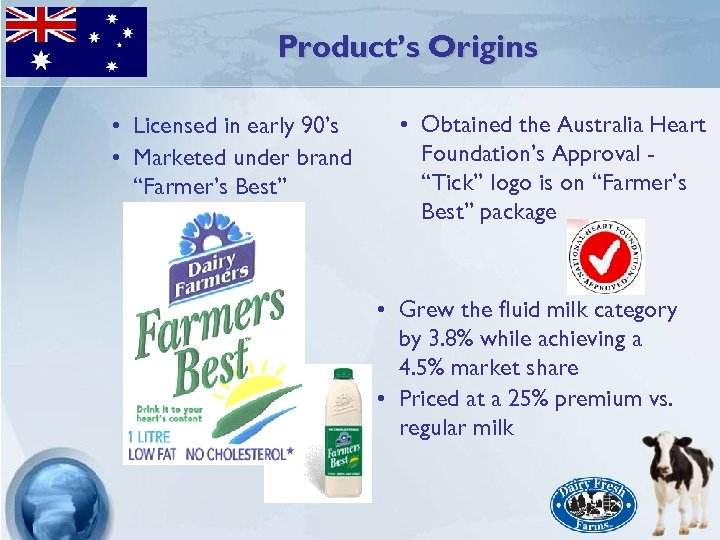 """Product's Origins • Licensed in early 90's • Marketed under brand """"Farmer's Best"""" •"""