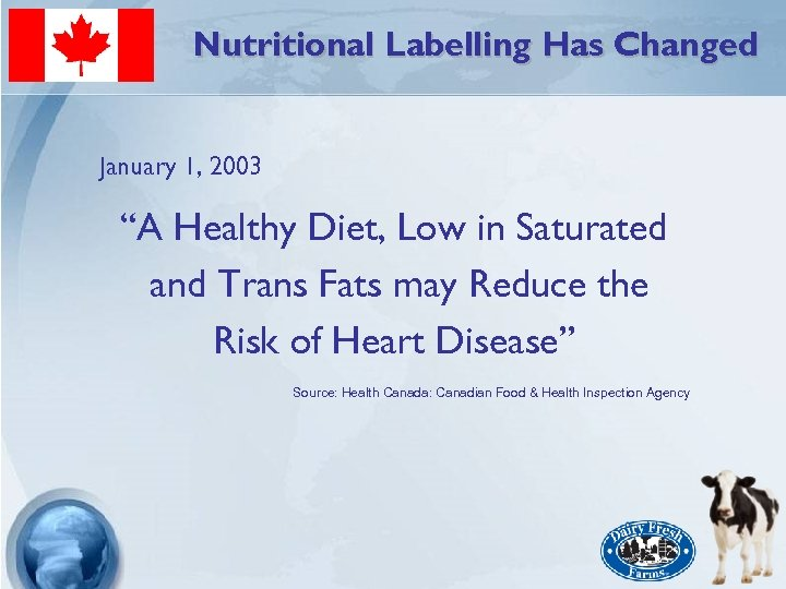 """Nutritional Labelling Has Changed January 1, 2003 """"A Healthy Diet, Low in Saturated and"""