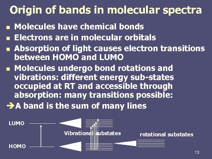 Origin of bands in molecular spectra Molecules have chemical bonds n Electrons are in