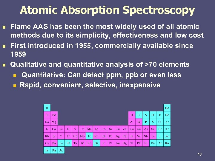 Atomic Absorption Spectroscopy n n n Flame AAS has been the most widely used