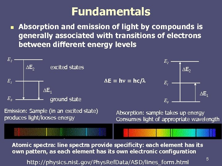Fundamentals n Absorption and emission of light by compounds is generally associated with transitions