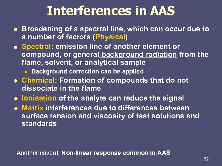 Interferences in AAS n n Broadening of a spectral line, which can occur due
