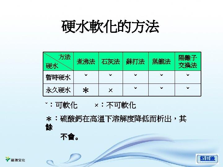 硬水軟化的方法 方法 煮沸法 石灰法 硬水 暫時硬水 永久硬水 ˇ:可軟化 ˇ * ˇ × 蘇打法 蒸餾法