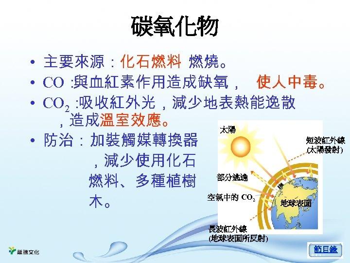 碳氧化物 • 主要來源:化石燃料 燃燒。 • CO: 與血紅素作用造成缺氧, 使人中毒。 • CO 2: 吸收紅外光,減少地表熱能逸散 ,造成溫室效應。 太陽