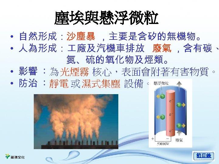 塵埃與懸浮微粒 • 自然形成:沙塵暴 ,主要是含矽的無機物。 • 人為形成: 廠及汽機車排放 廢氣 ,含有碳、 氮、硫的氧化物及烴類。 • 影響 :為 光煙霧
