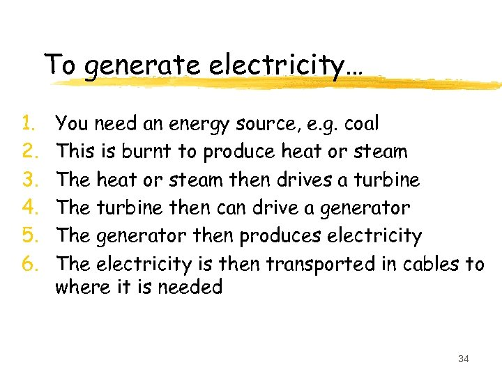 To generate electricity… 1. 2. 3. 4. 5. 6. You need an energy source,