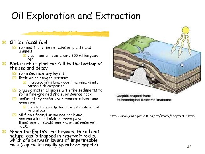 Oil Exploration and Extraction z Oil is a fossil fuel y formed from the