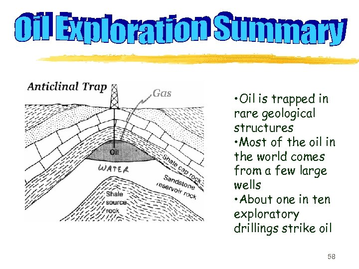 • Oil is trapped in rare geological structures • Most of the oil