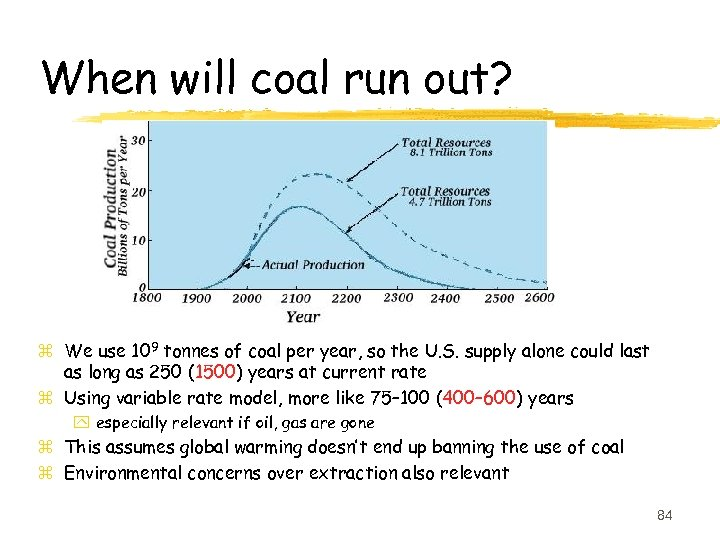 When will coal run out? z We use 109 tonnes of coal per year,