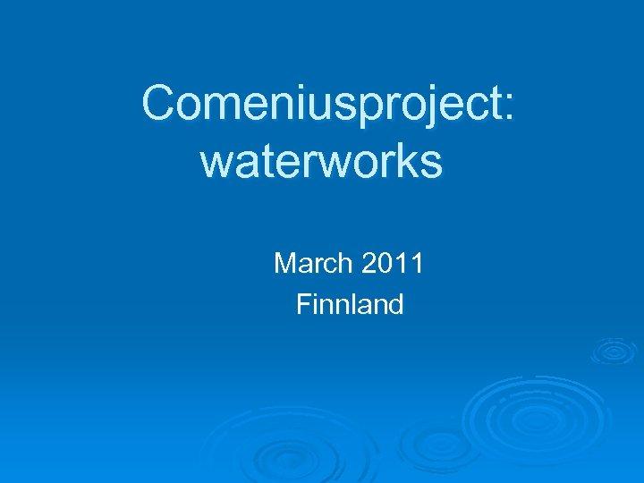 Comeniusproject: waterworks March 2011 Finnland