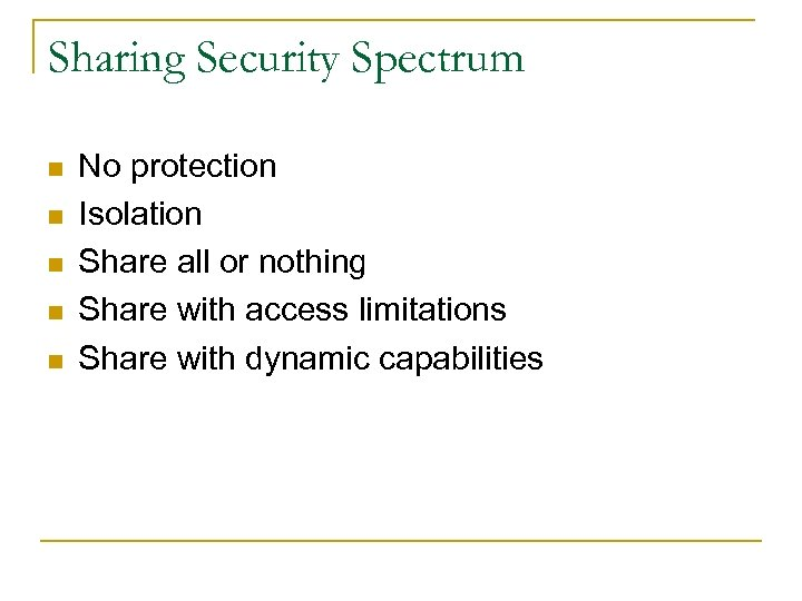 Sharing Security Spectrum n n n No protection Isolation Share all or nothing Share