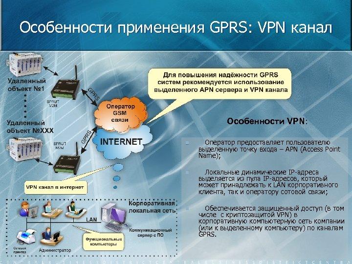 Особенности применения GPRS: VPN канал Особенности VPN: n Оператор предоставляет пользователю выделенную точку входа
