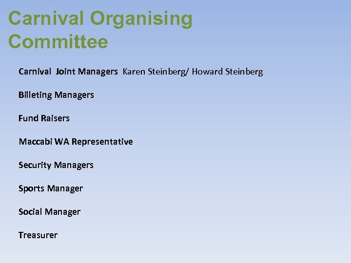 Carnival Organising Committee Carnival Joint Managers Karen Steinberg/ Howard Steinberg Billeting Managers Fund Raisers