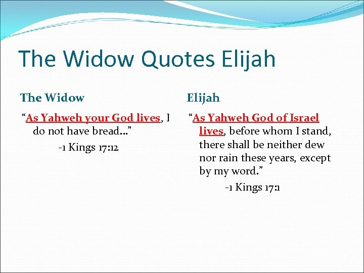 "The Widow Quotes Elijah The Widow Elijah ""As Yahweh your God lives, I do"