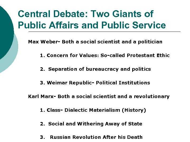 Central Debate: Two Giants of Public Affairs and Public Service Max Weber- Both a