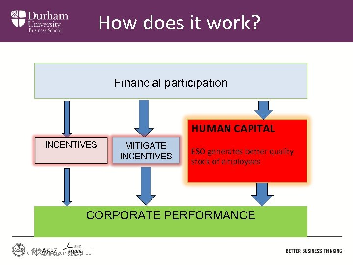 How does it work? Financial participation HUMAN CAPITAL INCENTIVES MITIGATE INCENTIVES ESO generates better